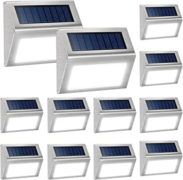 Warm White Solar Lights for Decks Waterproof Solar Powered Steps Light Auto On//Off Outdoor Wireless LED Lamp Lighting Walkway Patio Stair Garden Path Rail Backyard Fence Post 8 Pack