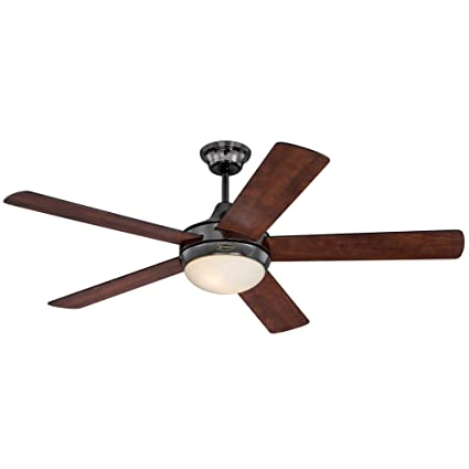 Westinghouse 7201100 Zander Two-Light Reversible Five-Blade Indoor Ceiling Fan, 52