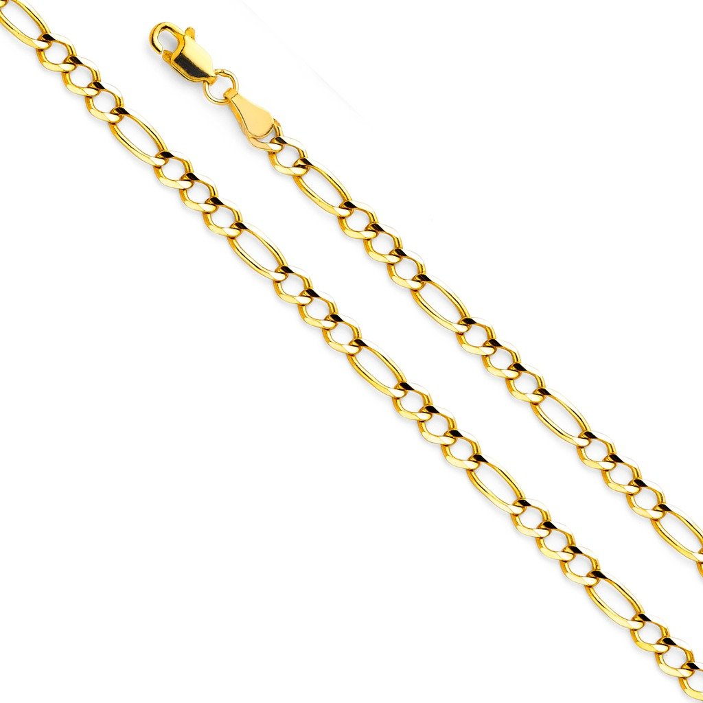14k Yellow Gold SOLID Men's 3.5mm Figaro 3+1 Open Chain Necklace with Lobster Claw Clasp - 24''