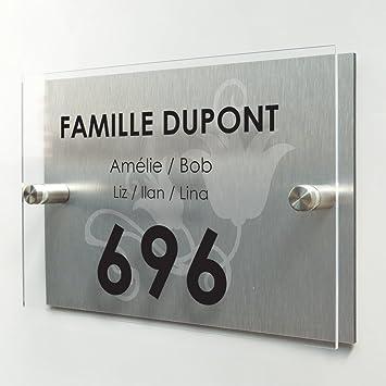Plaque de maison moderne - Numéro de porte + adresse - Fond Tulipes -  Personnalisée en 4987c64354