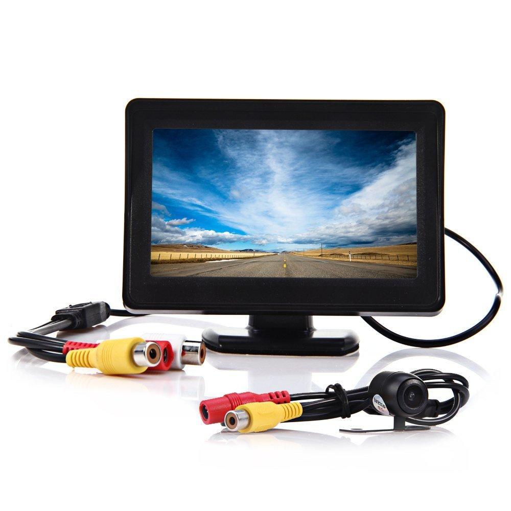 autolover折りたたみ式4.3インチアンチグレアカラーTFT車反転カメラモニターwithデジタルLCD表示画面 ブラック HSX-162803101 B01CNIGZRI  2 in 1