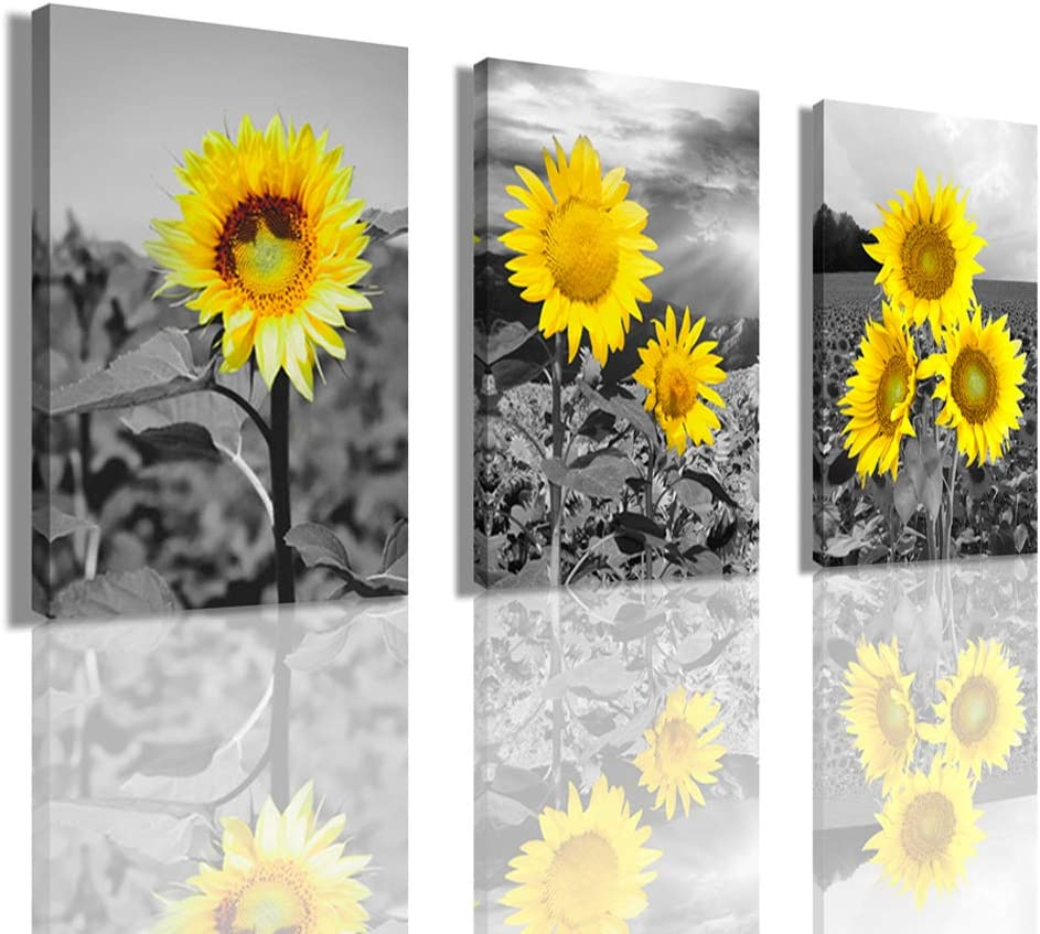 Wall Art Sunflower Living Room Decor - Beautiful Yellow Mural Hanging in The Bedroom And Living Room Restauran Painting 12 x 16 inch x 3 Panel