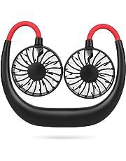 Simpeak Usb Fan Portable Hand Free Necklace Fan Black Red, 3 Speed Setting 360° Adjustable Swivel Cooling Fan usb mini fan for Home and Travel