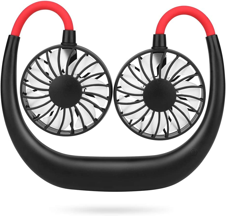 Simpeak Ventilador USB Mini, Mini Ventilador USB de Cuello Portátil para Oficina/Hogar/Viajar/Acampar - Negro+Rojo