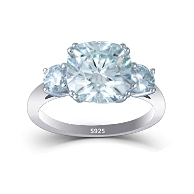 1bbd8b94930e0 DOVEGGS Platinum Plated Silver 4ct Center 9X9mm Cushion Cut Moissanite 3  Stone Engagement Ring Wedding Band Solitare for Women