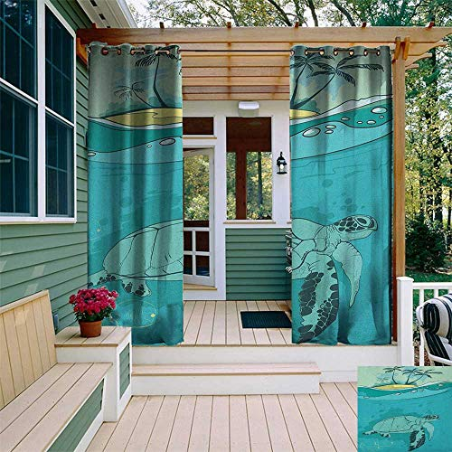 leinuoyi Ocean, Outdoor Curtain Wall, Sea Turtle Swimming Coral Reef Exotic Island Underwater Life Illustration, for Balcony W84 x L96 Inch Turquoise Teal Green
