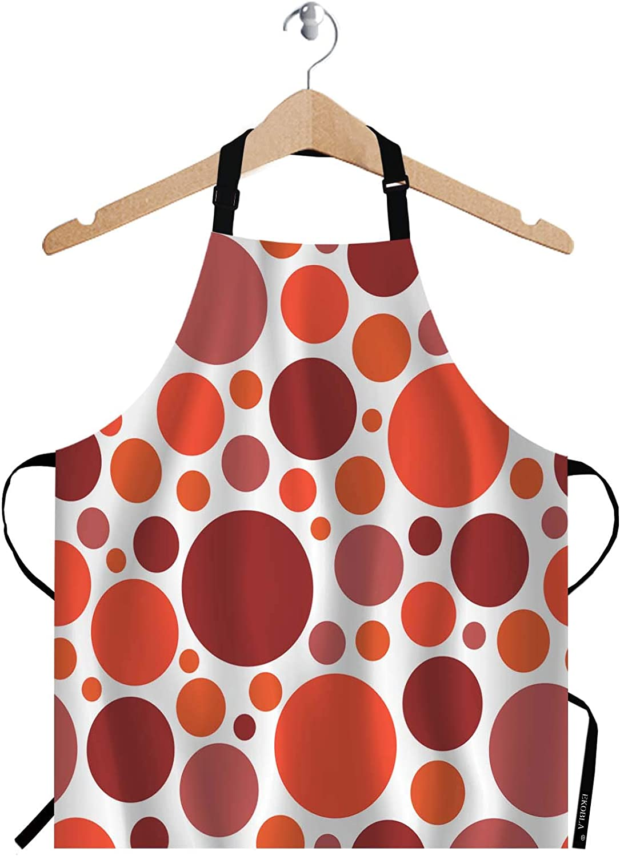 EKOBLA Polka Dots Aprons Red Orange Geometric Circle Spots Modern Fashion Design Waterproof Resistant Chef Cooking Kitchen BBQ Adjustable Aprons for Women Men 27x31 Inch