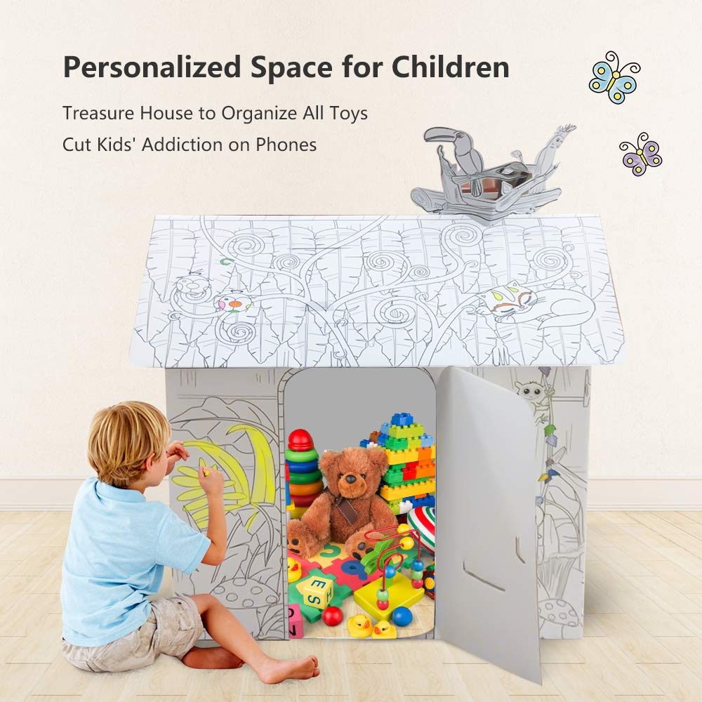 JOYOOC Cardboard Playhouse, Children DIY Color Playhouse Role Playing Game Cottage Playhouse Indoor Pretend Play Paper House with Included 12 Makers & Sturdy Construction, 42.9'' H x 31.1'' W x 24.8'' L by JOYOOC (Image #4)