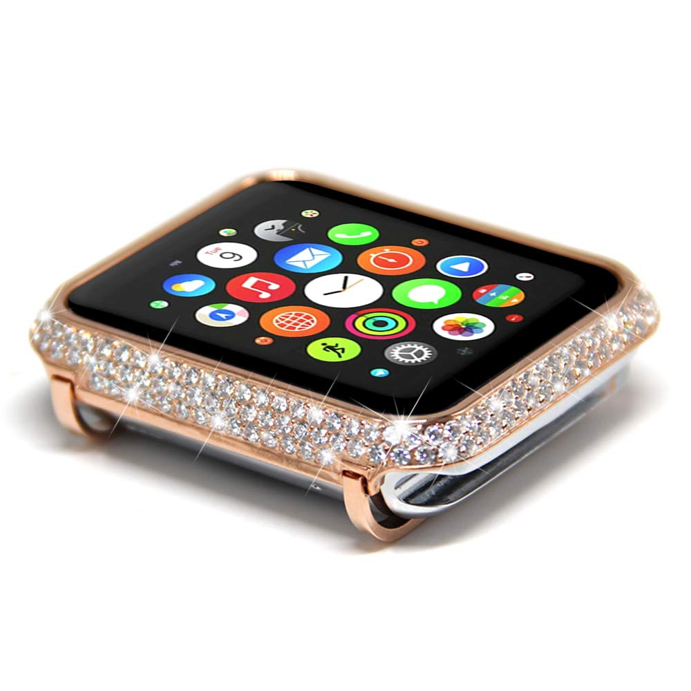 Leotop Compatible with Apple Watch Case 38mm, Metal Bumper Protective Cover Frame Accessories Women Girl Bling Shiny Rhinestone Diamond Compatible iWatch Series 3/2/1 (Luxury A+ Rose Gold, 38mm)
