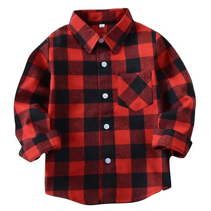 Yying Camisa Niño Manga Larga - Camisa Cuadros Blusa Niños Tops Niñas Camiseta Primavera Otoño Tshirt