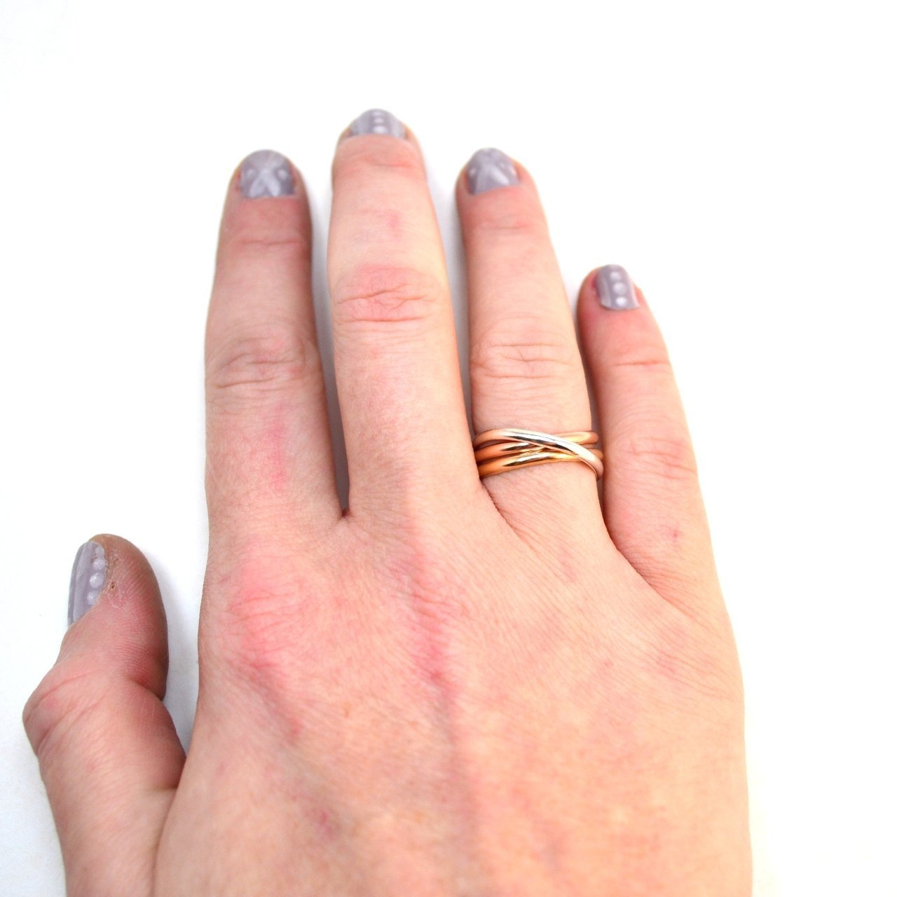 Amazon.com: Tri Color Rolling Rings. Smooth Interlocking Band ...