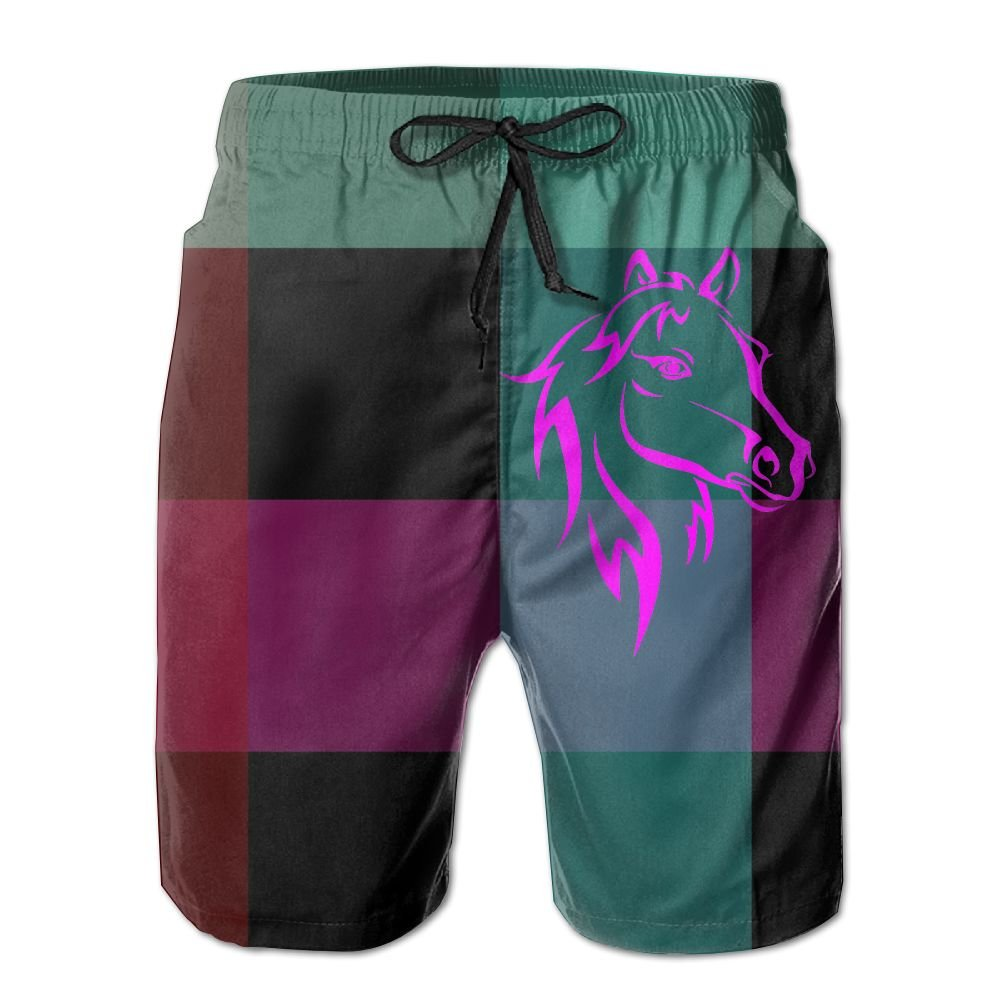 Horse Bold Color Mens Athletic Classic Summer Shorts Casual Swim Shorts with Pockets