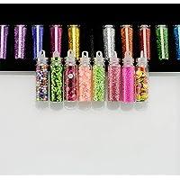 IVEYY 48 Bottle Set Nail Art DIY Decoration Kit Contain Random Nail Glitter Charms Rhinestone Sequin Beads Pearls Nail…