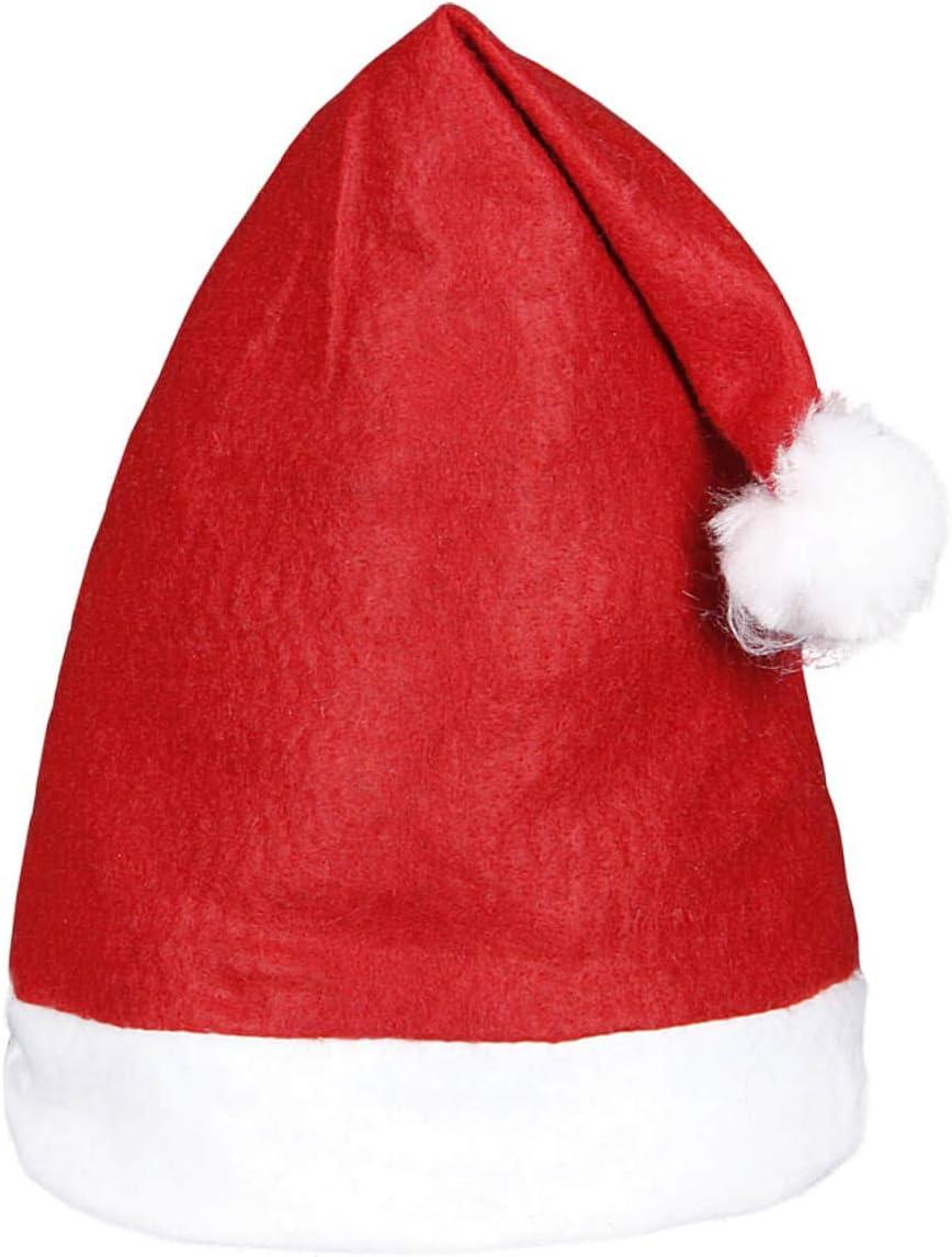 Set di 6 Cappelli da Babbo Natale con Pon Pon wm-32 Rosso Bianco di Feltro per Adulti Uomo Donna di Alsino
