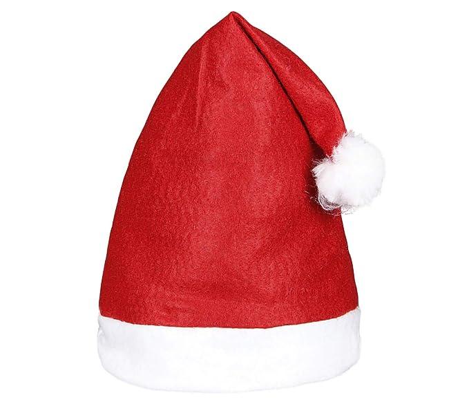 Alsino Weihnachtsmütze Nikolausmützen Weihnachtsmann Mütze 12 Stück Größe: 40 x 31 cm Wm-32 weisser Rand mit Bommel