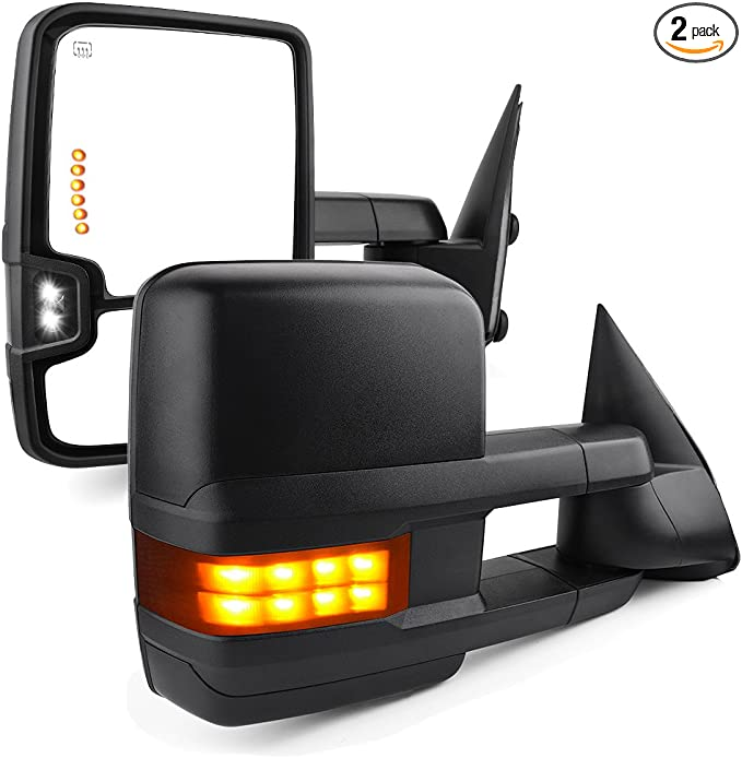 LSAILON Towing Mirrors Fit for 2003-2006 Chevy GMC Sierra Pickup Yukon XL Yukon Denali Cadillac Escalade All Model Tow Mirrors With LH Side and RH Side Power Heated LED Turn Signal Clearance Light