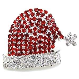 Christmas Pin Santa Clause St. Nick Hat Brooch Winter Xmas Rhinestones Jewelry