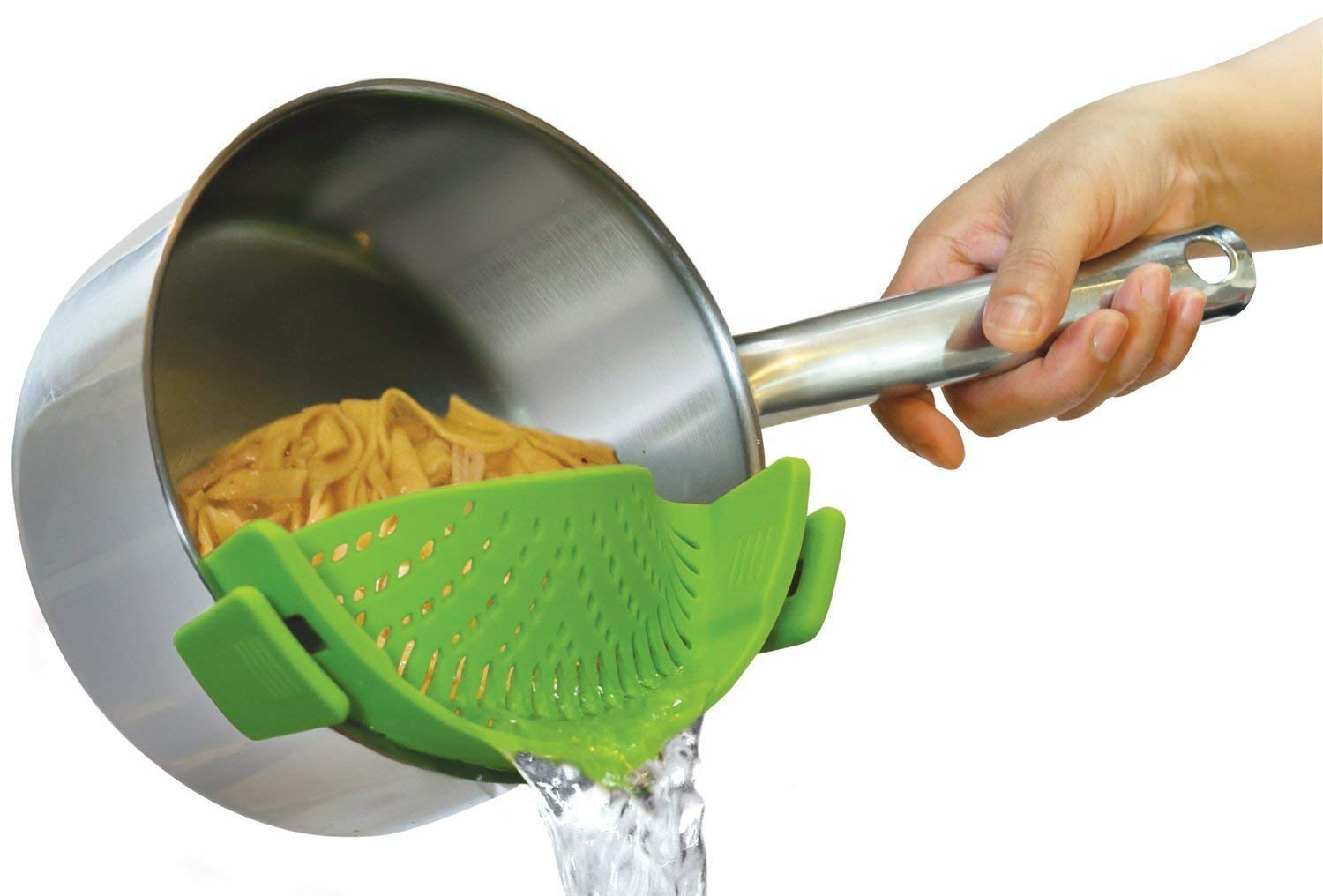 PrimeSons Clip-On Kitchen Food Strainer for Spaghetti, Pasta, and Ground Beef Cheese, Colander and Sieve Snaps on Bowls, Pots and Pans by PrimeSons