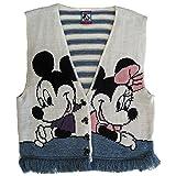 Disney Big Girls White Blue Mickey Minnie Knit Fringed Sleeveless Top 10-12