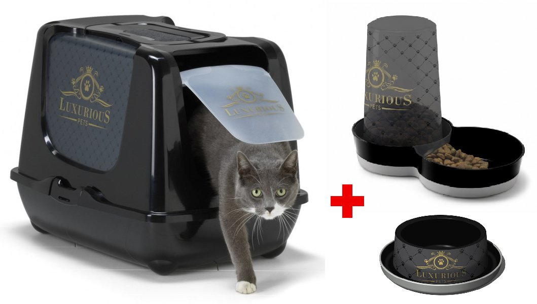 Home Toilet + Bowl + CAT FOOD DISPENSER PACK Luxurious