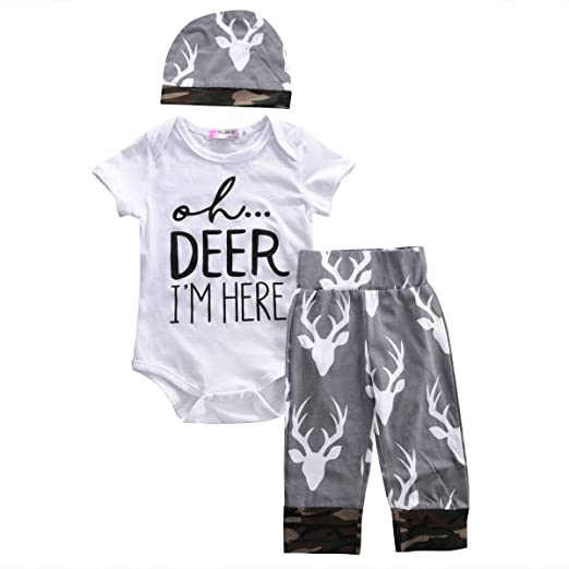 8e2c753d574 Amazon.com  Newborn Baby Boys Oh deer I m new here Short Sleeve Romper and Pants  Outfit with Hat  Clothing