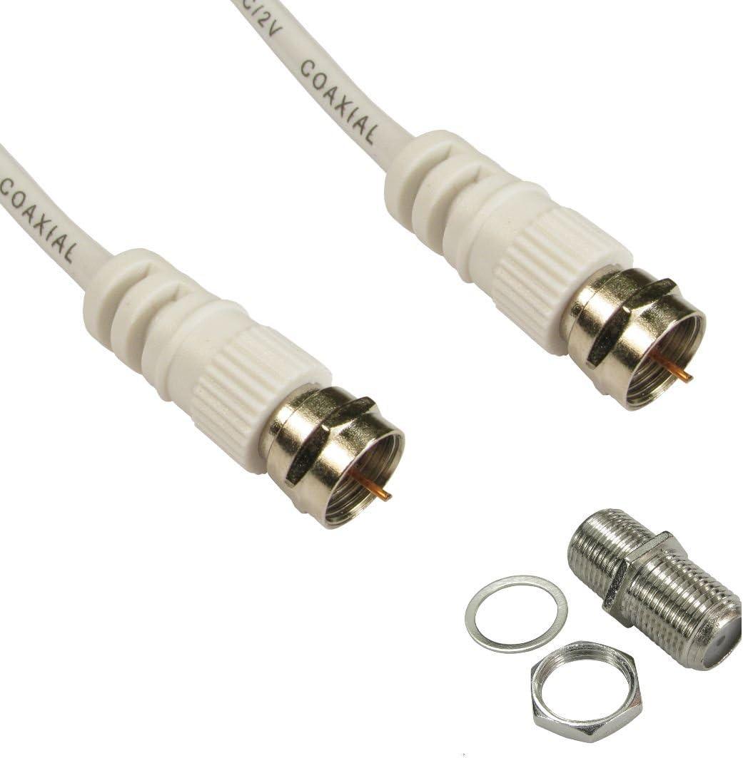 Cable coaxial para antena de TV RF de Ex-Pro, chapado en oro, mosca plomo alambre (MM) con adaptador hembra a hembra (hembra) 1 m White F Type