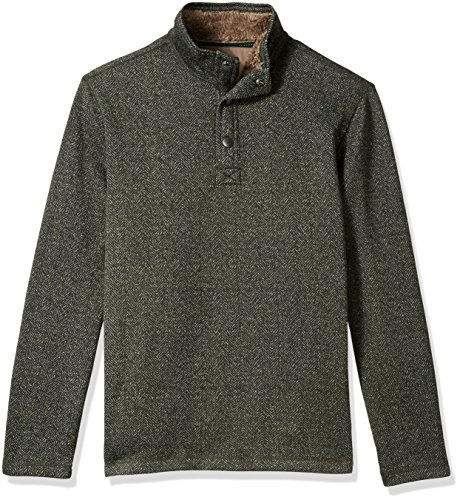 G.H. Bass & Co. Men's Madawaska Button Mock Long Sleeve Fleece, Forest Night, - Shirt Fleece Over