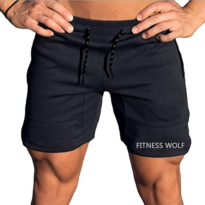 LEEDFORD Men's Gym Sports, Running Short Pants Embroidered