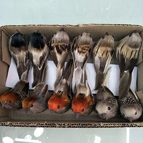 lwingflyer Artificial Simulation Foam Bird, Sparrow Ornaments DIY Craft For Wedding Decoration Party Accessories 10cm (6) ()