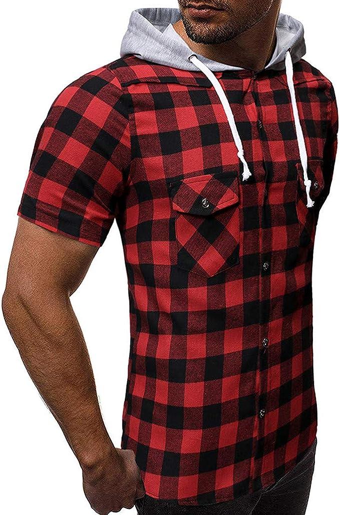 beautyjourney Camisa con Capucha a Cuadros de los Hombres Camiseta de Manga Corta a Cuadros de Verano Camisa Casual Slim Fit Abrigo de Capucha Camisas de Sudor: Amazon.es: Ropa y accesorios