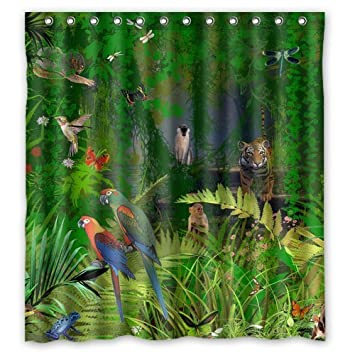 Custom Tropical Jungle Theme Shower Curtain 66u0026quot; X 72u0026quot;   Bathroom  ...