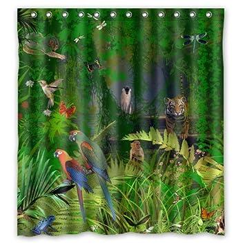 Amazon.com: Custom Tropical Jungle Theme Shower Curtain 66\