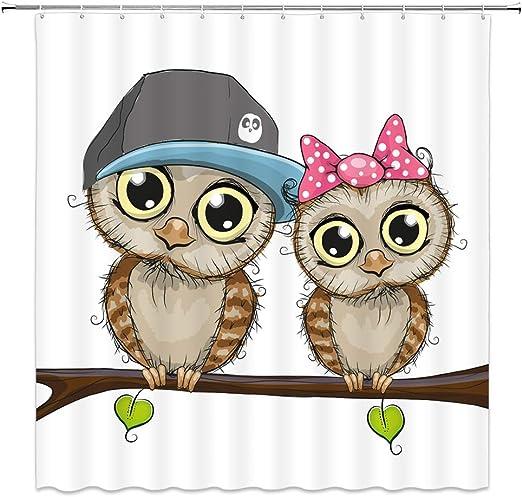 Cute Cartoon Owl Tree Shower Curtain Liner Waterproof Fabric Bathroom Set Hooks