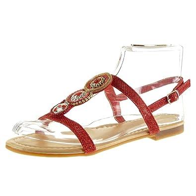 Angkorly Damen Schuhe Sandalen - T-Spange - Strass - Schmuck Blockabsatz 5 cm