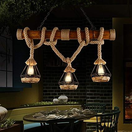 YCLED Lámparas de bambú Vintage Lámparas industriales de 3 ...