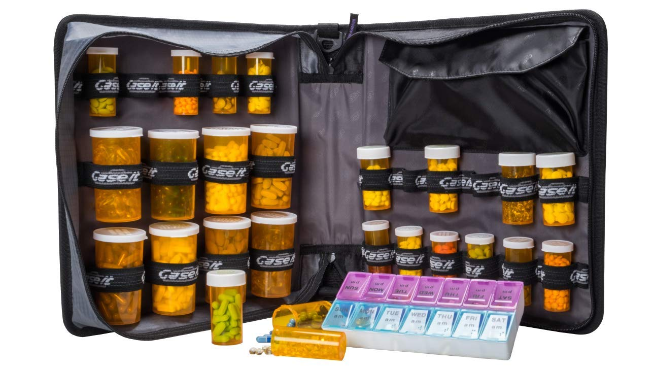 Med Manager XL by Case-It (Red), Insulated Medication Binder w/ Strap and Portable Pill/Medicine Organizer, Holds (25) 30/60/90-Day Pill Bottles, Pill Organizer, 6-Pocket Folder, (13'' x 13'' x 4.5'') by Case-It Med manager