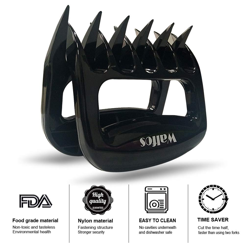 Shredding and Carving Meat Walfos Bear Paws Shredder Essential for BBQ Pros Ultra-Sharp Blades /& Heat Resistant Pulled Pork Meat Claw for Handling,Lift
