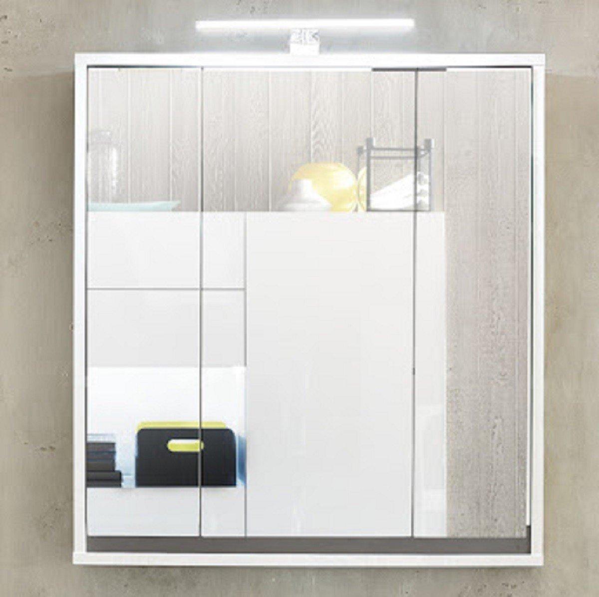 Dreams4Home Spiegelschrank 'Talu VIII' - Schrank, Badschrank, Badezimmerschrank, Spiegel, Wandschrank, 3 Türen, 6 Einlegeböden, B/H/T:ca 67x73x18 cm,FSC-K: 70%, Weiß Dekor / Weiß Hochglanz Lack Abs. Grau Dekor, Made in EU