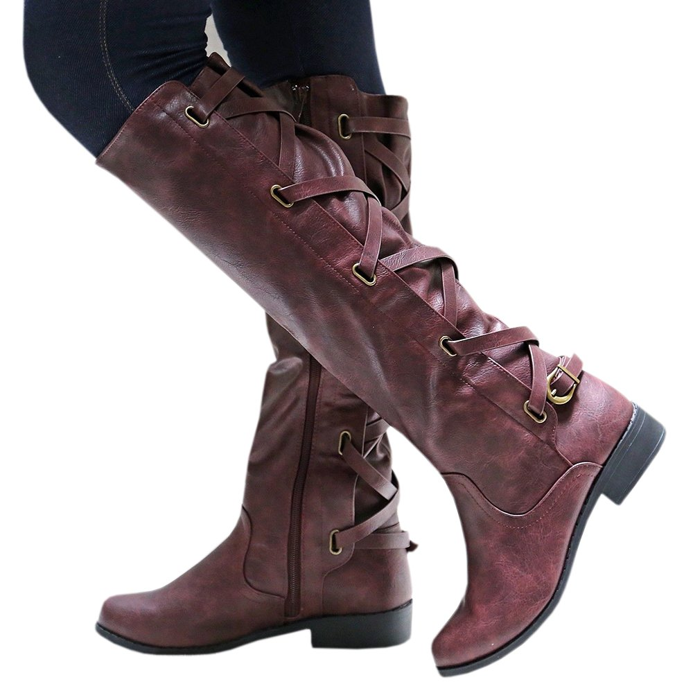 Syktkmx Womens Lace up Strappy Knee High Motorcycle Riding Low Heel Winter Leather Boots B077TPSTTF 5 B(M) US|1-wine Red