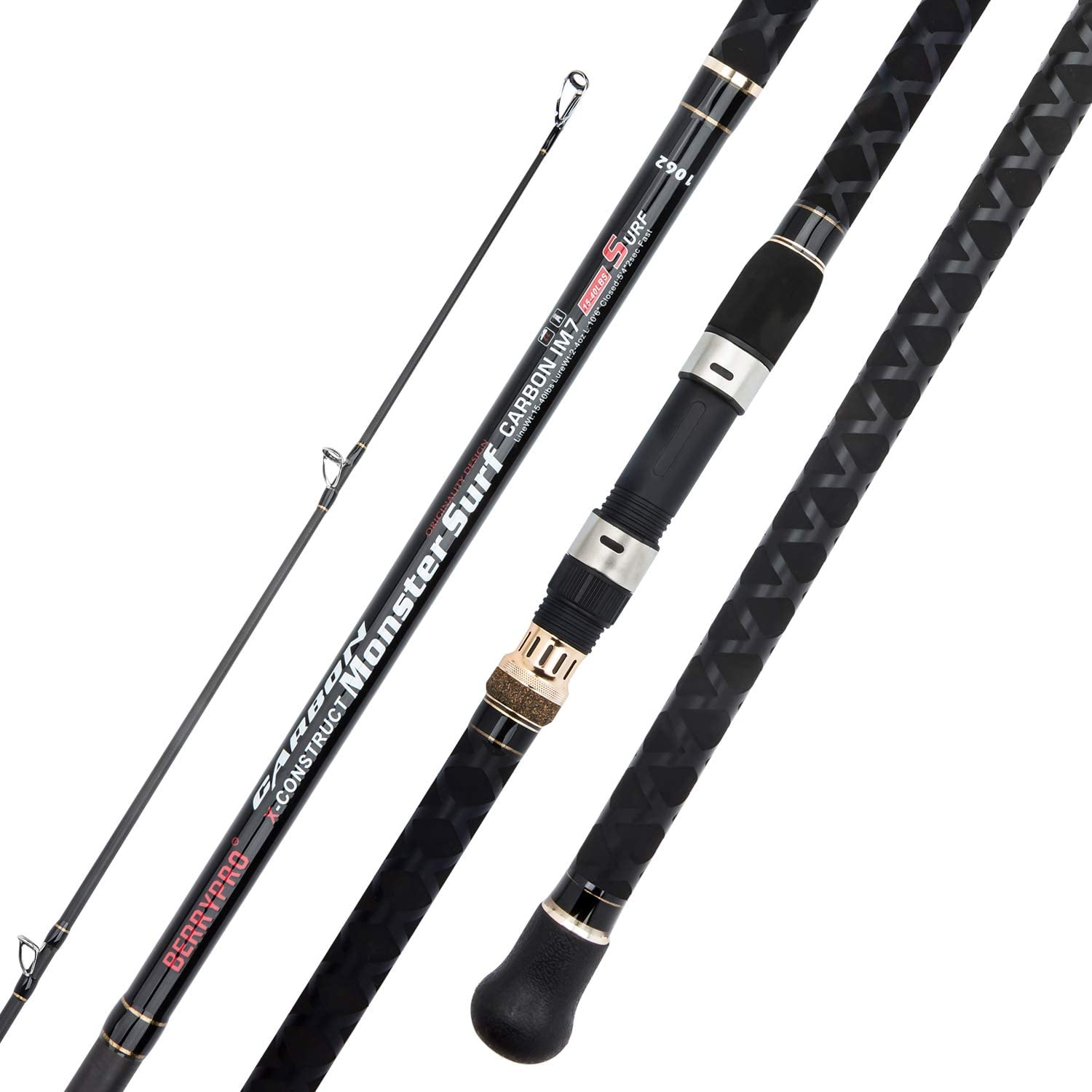 BERRYPRO Surf Spinning Fishing Rod Graphite Spinning Rod (9-Feet & 10-Feet & 10.6-Feet & 11-Feet & 12-Feet & 13.3-Feet)