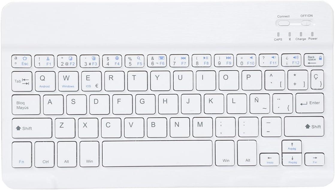 Bluetooth Teclado Keybord Ultrafino, CoastaCloud Teclado Inalambrico QWERTY Español con una función Para Cualquier iOS , Android, Windows Sistemas Tablets Blanco 10 pulgada