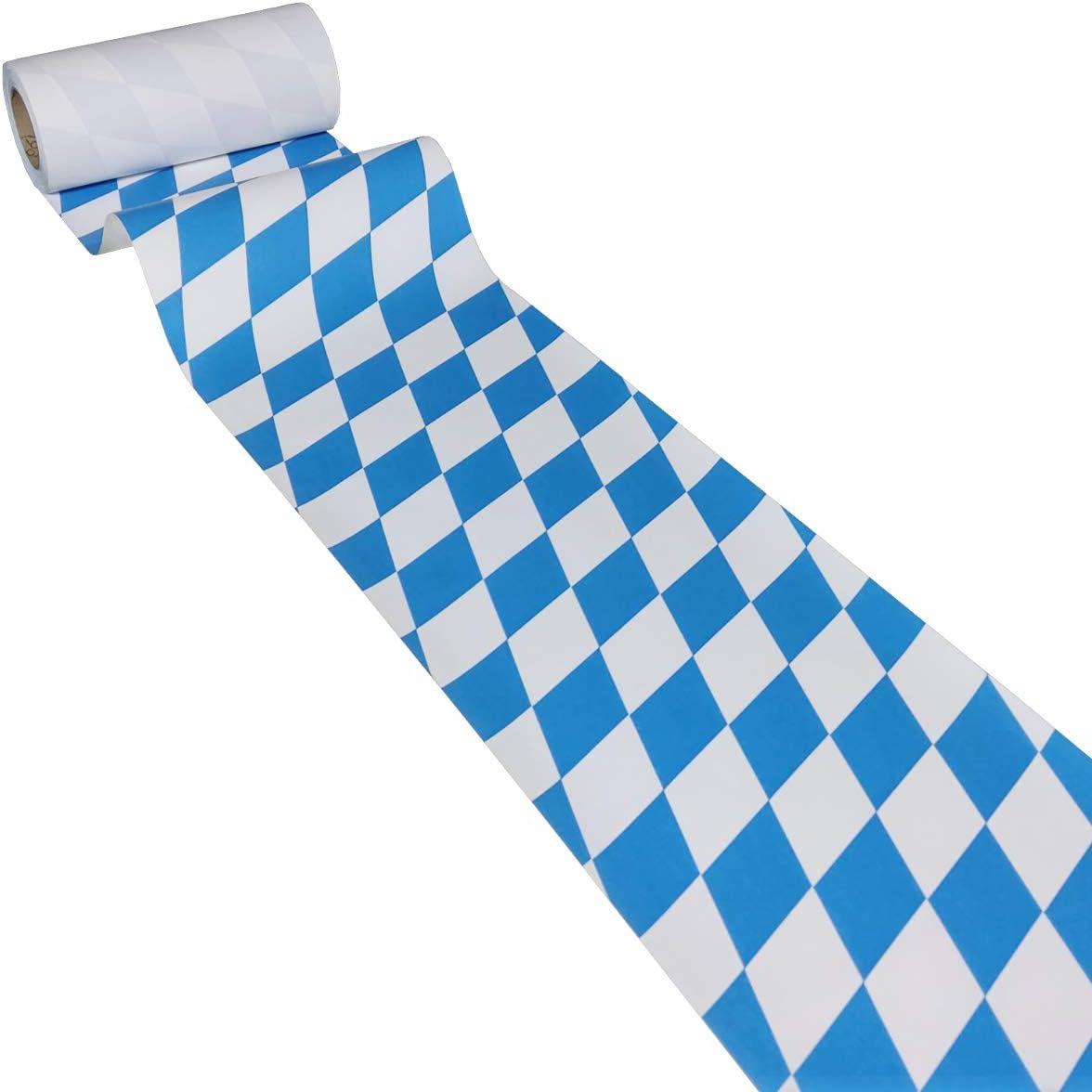 /étanche essuyage Humide Losange-Bleu//Bavi/ère//Oktoberfest JUNOPAX Chemin de Table 50m x 0,20m de Papier
