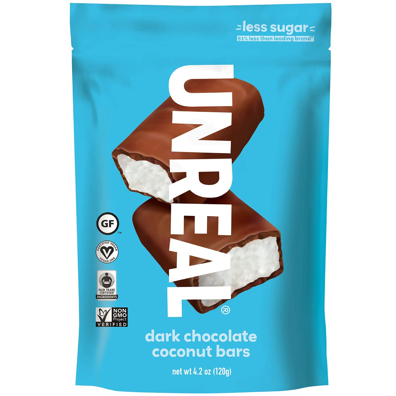 UNREAL Dark Chocolate Coconut Bars | Certified Vegan. Less Sugar, Gluten Free | 6 Bags by UNREAL