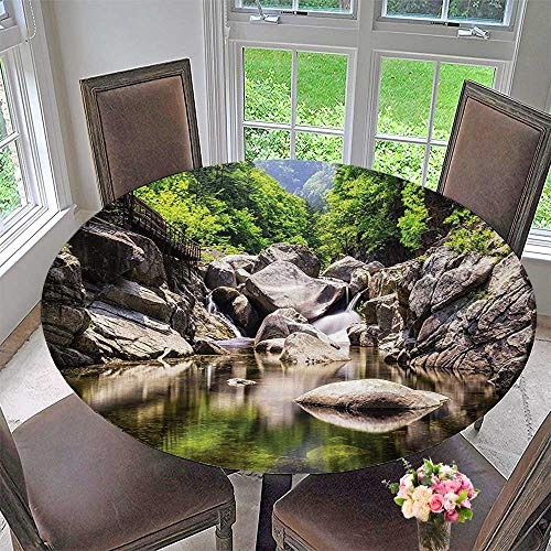 (Mikihome Modern Table Cloth Rainforest Waterfall Scenery with Rocks in The River Nature Print Grey Green Indoor or Outdoor Parties 59