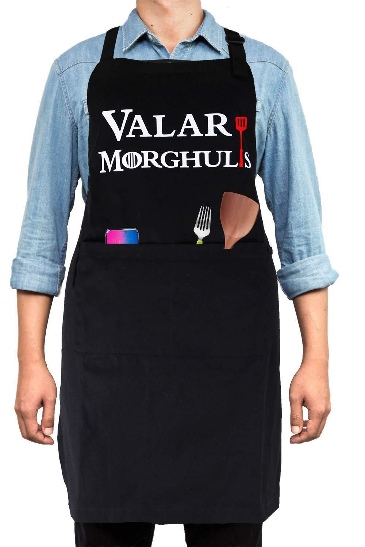 面白いエプロン BBQ シェフエプロン GOTファン用 調節可能 メンズ レディース BBQ ベーキングクッキング 2ポケット Valar Morghulis   B07PRQ69FN