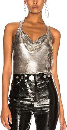 Women Mesh Leather Halter Crop Top Shirt Backless Sleeveless Tank Top Vest Blous