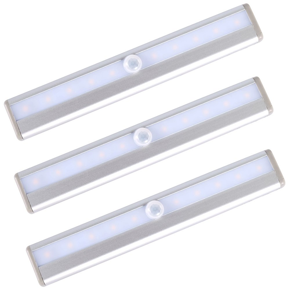 Battery LED Light Motion Sensor Portable 10 LED Night Light DIY Stick-on Anywhere Wireless Stairs Light Automatic Motion Induction Closet Cabinet Wardrobe Display Warm Lamp (Cool, 3-Pack)
