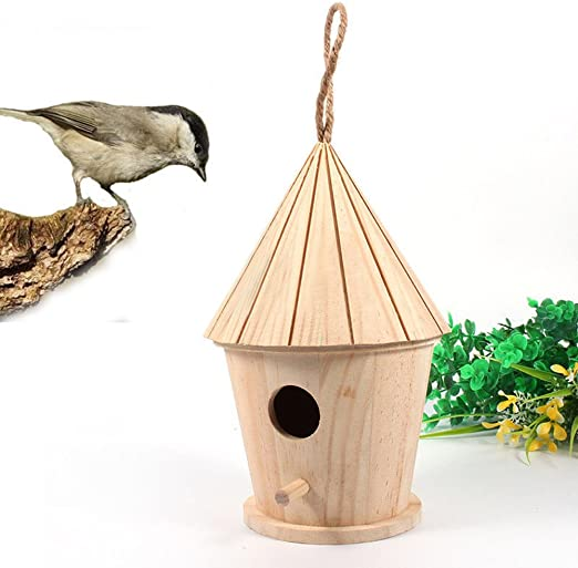 Small Wooden Bird Hotel House Wood Garden Shelter Box Roof Natural Small Bird