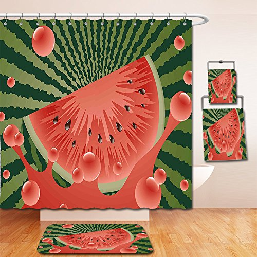 Nalahome Bath Suit: Showercurtain Bathrug Bathtowel Handtowel Summer Beach Fruit Vegetarian Garden Health Life Hot Season Image Olive Green Dark Coral Hunter Green