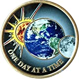 Universe One Day A A Time Color Earth Sun Moon Medallion Sobriety Chip